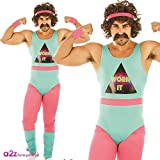 "80s Fitness Instructor Mens Fancy Dress Neon Aerobics Sports Adults Costume New XL (46-48"" Chest)"