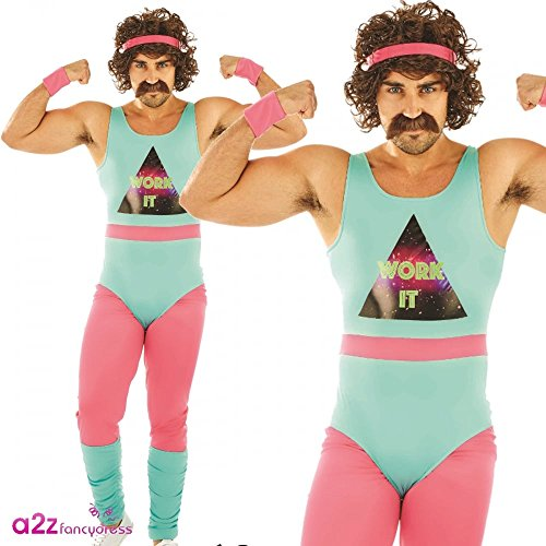 * NEW * 80s Fitness Instructor funny costume for men. Available in three sizes M, L or XL.