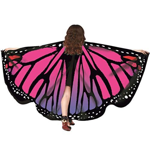 Kfnire Mariposa Alas Chal para Mujer Niña y Niños, Duendecillo para Mujer Chicas Capa de Muchacha Accesorio para Disfraz Playa Fiesta (A#04)