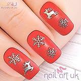 Silver Snowflake & Reindeer Christmas Adhesive Nail Art Stickers