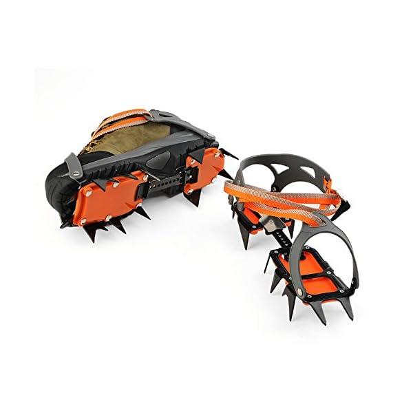 Docooler 14 Puntos Pinzas Dentadas Crampones Escalada en Hielo de Acero al Manganeso Crampón Dispositivo de Tracción (Naranja) 1
