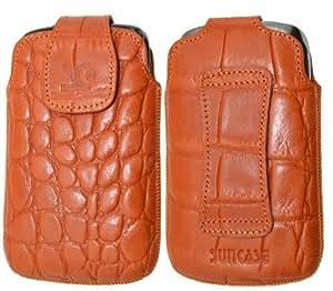 Original Suncase Echt Ledertasche für HTC Desire C in croco-orange