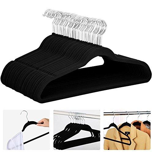 = Yahee 100 Grucce in velluto antiscivole, Appendini salvaspazio per vestiti cappotti camicie (Nero) confronta il prezzo