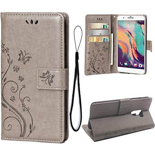 Teebo Hülle für HTC ONE X10 Schutzhülle aus PU Leder Handyhülle mit geprägtem Schmetterling-Muster Kartenfach und Magnetverschluss grau