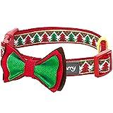 Blueberry Pet New Weihnachtscharme Verwehte Tannen Hundehalsband mit Abnehmbarer Fliege-Deko, Hals 30cm-40cm, S, Festtags-Halsbänder für Hunde