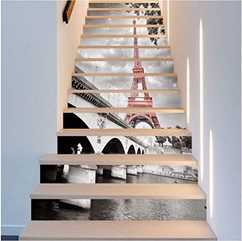 Stairs stickers waterproof self-adhesive paper3Dwall stickersDIYpainting home Eiffel Tower (Schneiden Eiffel Tower)