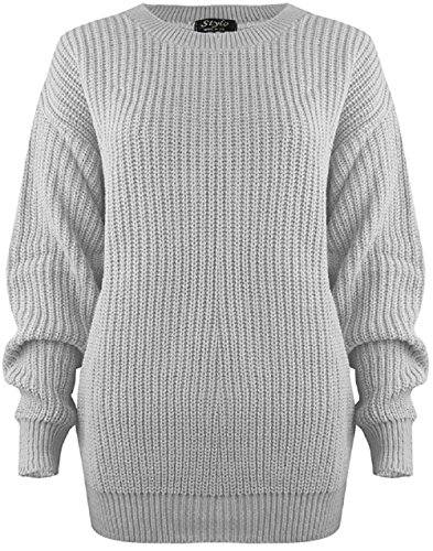 MyMixTrendz Women Ladies Winter Cable Knit Fishernet Loose Baggy Crew Neck Plus Size Jumper Top Hellgrau