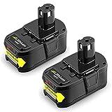 2X Reoben 18V 5,5Ah Lithium-Ion Remplacement de Batterie Pour Ryobi ONE+ P108 P107 P104 P105 P102 P103 Outils Sans Fil