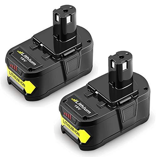 [2 Stück] Reoben P108 18V 5.5Ah Lithium Akku Ersatzakku Ersatz für Ryobi Akku 18V One+ P107 P102 P104 P105 P06 P102 P103 P200 mit LED Anzeige