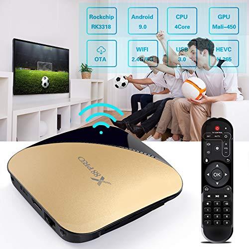 Alician X88 PRO Android 9.0 Fernsehkasten Rockchip RK3318 4 Kern 2.4G u. 5G WiFi 4K HDR gesetzter Spitzenkasten USB 3.0 st¨¹tzen Gold des Film-3D 2+16 US Plug -