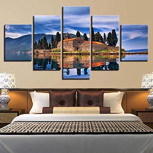 mmwin Wandkunst HD Drucke Wohnkultur 5 Stücke Baum Leinwand Haus Modulare Bilder Landschaft Wohnzimmer Kunstwerk Poster