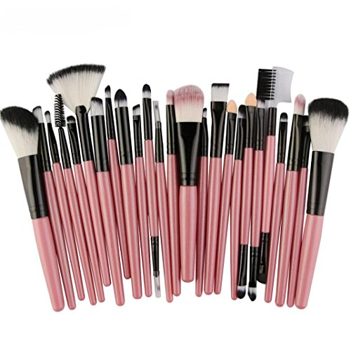 JIANGFU Ensemble de pinceaux de maquillage, 25pcs pinceau de maquillage cosmétique Blush Eye Shadow brosses ensemble (Pink)