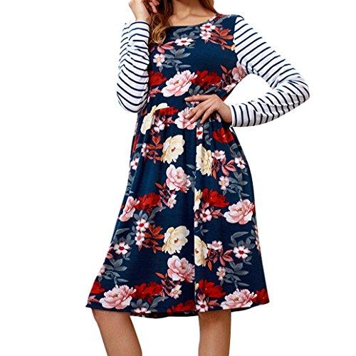 Hmeng Frauen Maxi-Kleid Floral Bedruckt Herbst Langarm Casual Tunika Lange Maxikleid (Dunkelblau, L)