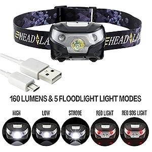 Linternas Frontales LED Recargables Potentes Luz Frontal Super Brillante Casco Bateria con USB Trabajo hasta 6 Horas Impermeable 5 Modos de Luz para Pesca, Cabeza, Cámping, Ciclismo, Carrera, Bici, Running, Caza