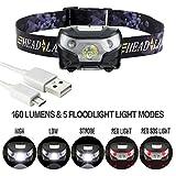 Linternas Frontales LED Recargables Potentes Luz Frontal Super Brillante Casco Bateria con U...
