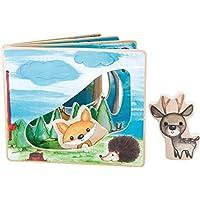 Baby-Bilderbuch aus Holz mit vier Seiten und Holzfiguren zum interaktiven Spiel, bunt bemaltes Holz in einem Wald-Szenario, trainiert die Feinmotorik des Kindes, geeignet ab 12 Monaten