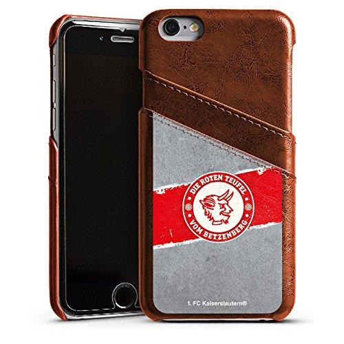 Apple iPhone 7 Lederhülle Leder Case Leder Handyhülle 1. FC Kaiserslautern Fanartikel FCK Leder Case Kastanienbraun