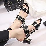 Summer Flip Flops, Bestoppen Women Fashion High Heels Antiskid Toes Slippers Flip Flops Ladies Casual Evening Party Slippers Non-slip Shower Slip On Slippers Loafer Sandals Shoes Size 2-7 (EU:40, Black)