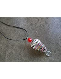 Handmade by Mimi Pinto Paper Bead Surf Style Pendant Necklace on Waxed Cotton Cord with Easy hook Clasp
