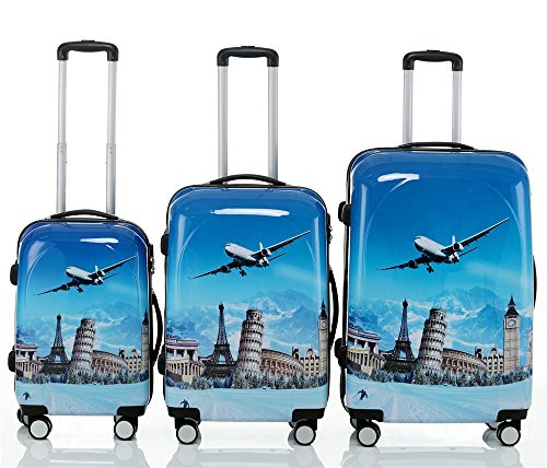 Reisekoffer 2060 Hartschalen Trolley Kofferset in 12 Motiven SET--XL-L--M-- Beutycase (Flug, 3er Set(XL+L+M))