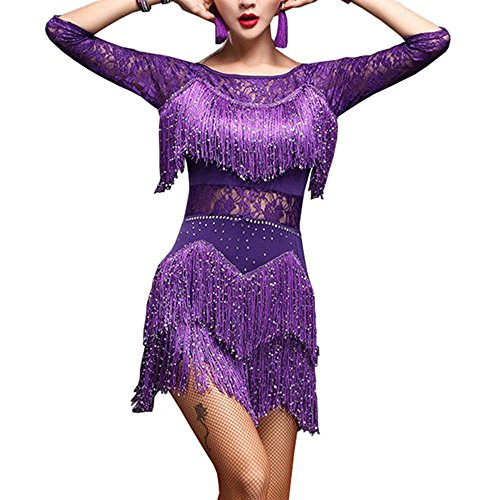 Salsa Kostüm - YM YOUMU Damen Tanzrock, Salsa ChaCha Tango Rumba Dance Dress mit Quasten,Tanzanzug Kostü (Lila, M (EU XS))