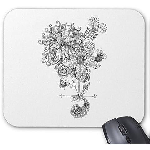 Mouse da Gioco Bianco e nero fiore disegno Rettangolo Ufficio Mouse 22,9x 17,8cm
