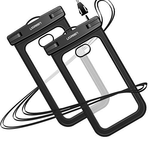 UGREEN Wasserdichte Handyhülle 2 Stück Handy Tasche wasserfest Handy Hülle kompatibel mit iPhone XS XR X 8 Plus 7 Plus 6, Samsung S9 S8 A8 A5, Huawei P20 Pro P20 Lite Mate 10 usw. bis zu 6.2 Zoll