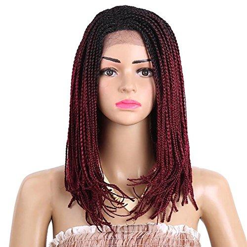 DAYYN 45 CM Perruque Fibre chimique Noir Pente Vin Rouge Dentelle Avant 3 fouets Chapellerie vin Rouge Synthétique Cheveux Perruque pour Femme