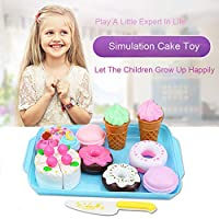 Dessert Cake Food Toy Pretend Play Food Ice Cream Birthday Cake Set ToyFeature:Fun and colorful toy icecream, Donut, Cake, look absolutely delectableDecorate your child'sbirthday party and have a fun and memorable birthday for your child At t...