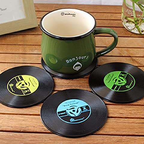 4x Retro CD Record Vinyl Coffee Drink Cup Mat Coasters Chic Tableware UK stock
