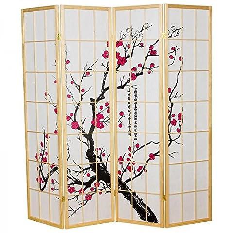 Fine Asianliving séparateur de pièce Paravent Paravent japonais Shoji écran papier de riz 4panneaux Sakura Cherryblossom meubles Home Decor écrans Oriental asiatique en bois naturel–Style japonais (papier de riz)