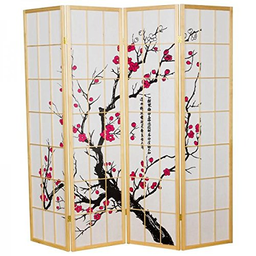 Fine asianliving - Raumteiler Paravent - Shoji Screen Raumteiler Paravent - japanischen Reispapier 4 Panel Sakura Cherryblossom - 112-521 (Shoji-4-panel-raumteiler)