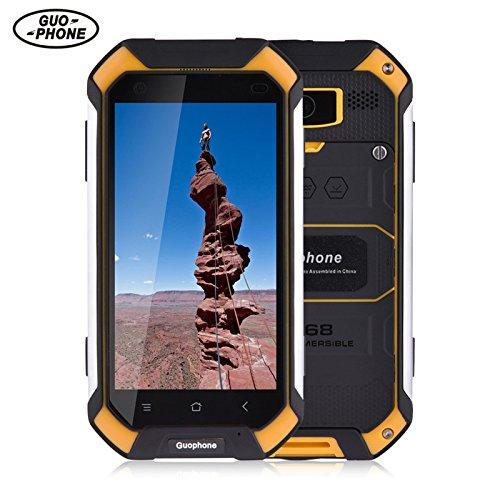 GUOPHONE V19 Smartphone 3G 4,5 inch Android 5,1 IP68 wasserdicht Staub und schockresistent Quad Core 2GB RAM 16GB Rom Outdoor Smart Phone (EU, Gelb)