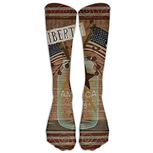 quanzhouxuhuixiefu Long Liberty Primitive Patriotic Garden Flag Declaration of Independence Socks Women's Winter Vintage Cotton Wool Knit Long Crew Socks 50CM