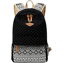 MingTai Backpack Mochilas Escolares Mujer Mochila Escolar Lona Grande Bolsa Estilo Étnico Vendimia Lunares Casual Colegio Bolso Para Chicas Negro