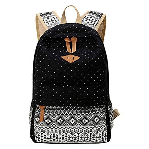 Imagen de mingtai backpack  escolares mujer  escolar lona grande bolsa estilo étnico vendimia lunares casual colegio bolso para chicas negro
