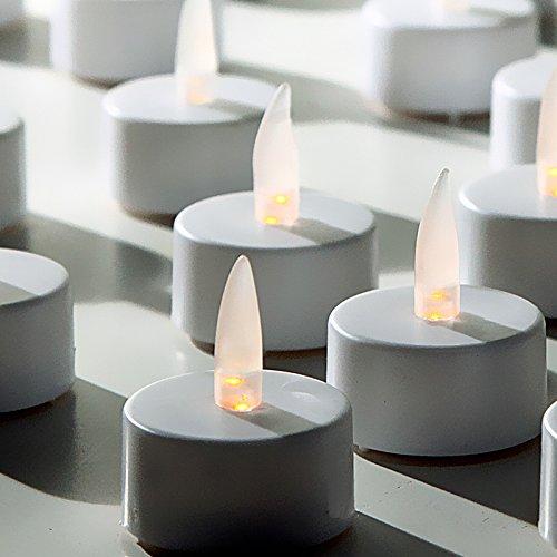 JEMIDI LED Teelicht Elektrische Flackernde Teelichter Kerze Flammenlose Kerze Batterie WÄHLBAR: von 4 bis 96 Stück - schönes Flackern - inkl. Batterien (8 Stück)