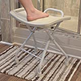 Folding White Seat / Stool For Bath and Shower With Non-Slip Feet