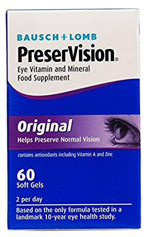 Bausch&Lomb PreserVison Eye Vitamin and Mineral Food Supplement Original For AMD 60 Soft Gels