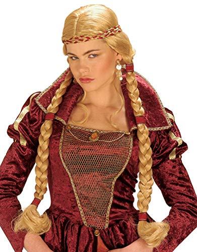 Karneval Klamotten Mittelalter Perücke Damen blond mit geflochtenen Zöpfen -