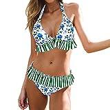 IEUUMLER Costume da Bagno Donna Sexy Bikini Set Due Pezzi Mare Spiaggia Push up Swimsuit Halter Brasiliano IE071 (Blue, XL)