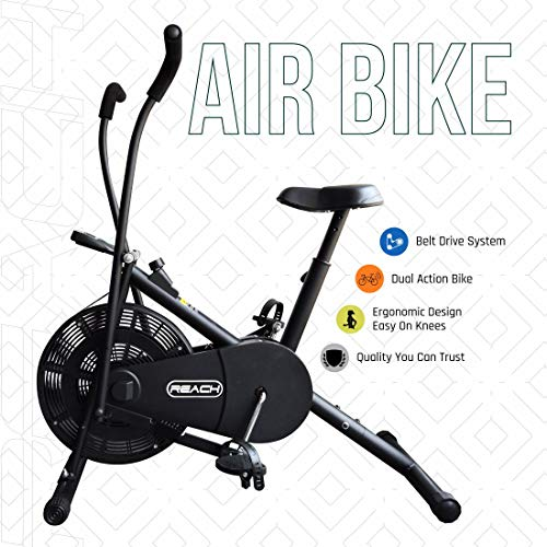 Reach Air Bike Exercise Cycle with Moving Handles & Adjustable...