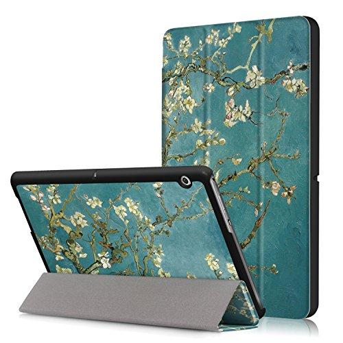Xuanbeier Huawei MediaPad T3 10 Hülle Case-Ultra Dünn und Leicht PU Leder Schutzhülle Cover für Huawei MediaPad T3 10(9,6 Zoll) (Z-Apricot Flower) - Apricot Flower