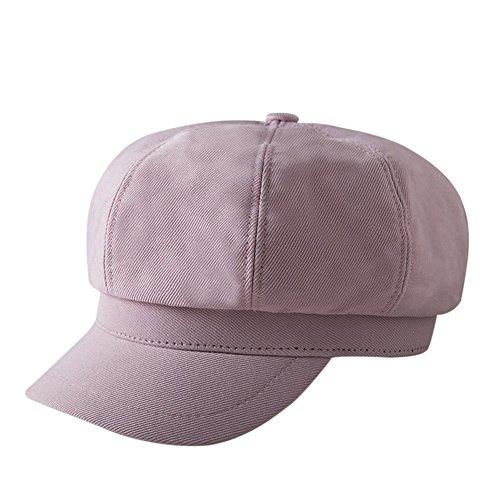 Scrox Boinas para señoras Boinas otoño e invierno mujer paseando en elegante sombrero de calabaza Sombrero Octogonal de Mujer Sombrero del Boinas Para Mujeres (Rosa)