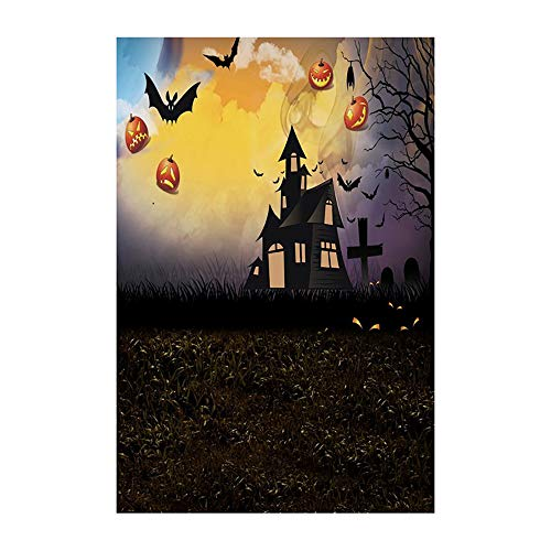 Kostüm Katze Mann Iron - Halloween Hintergrund Fotografie Friedhof Vollmond Fledermäuse Schwarze Katzen Kürbis Haunted Building Halloween Party Kulissen Photoshoot Requisiten Stand Spooky Halloween Decor 3x5FT