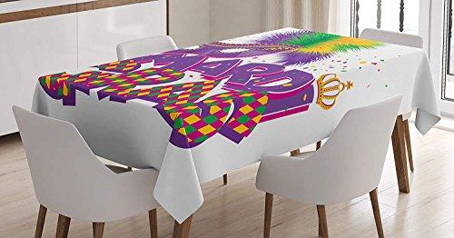 (yeuss Mardi Gras Tischdecke von, traditionelle Urlaub Thema Colorful flauschig Federn Maske Krone Symbol, Esszimmer Küche Tisch, rechteckig,, lila Hot Pink Grün, 132,1x 177,8cm, 52