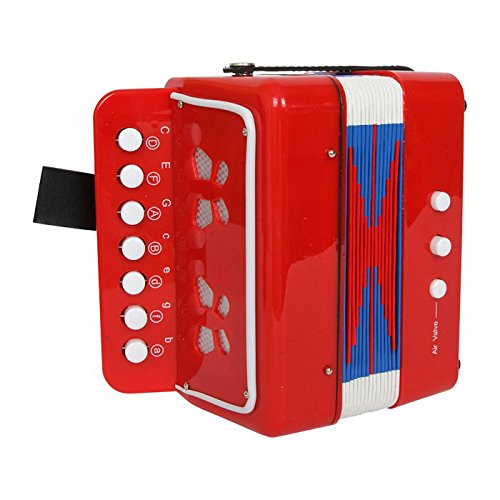 Akkordeon in Rot mit schönen, glänzenden Schmetterlingen, spielerisches Entdecken von Melodien und Tönen, Gurt sorgt für einen bequemen Sitz