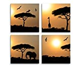 4 Bilder Set je 40x40cm Akazienbaum Afrika Sonnenuntergang Wüste Giraffe Elefant