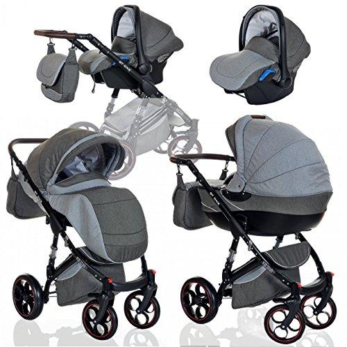 Kombi Kinderwagen 3in1 Baby 0-36 Monate Komplett Set GT one | Luftreifen Komfort Pannenfrei Garantie | Grau
