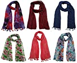 #10: FusFus Women's Printed Trendy Stoles, Free Size(Multicolour, F0151) - Pack of 6